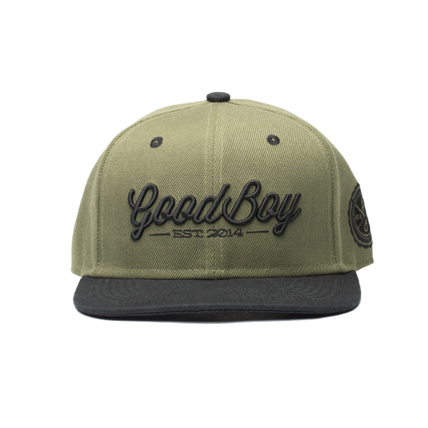 Army Green Leather Strapback