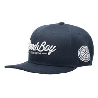 Navy Leather Strapback