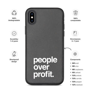"""People Over Profit"" Biodegradable Phone Case For iPhone"