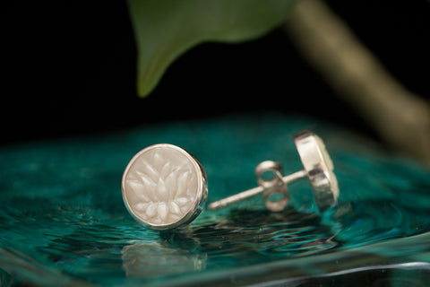 White Lotus Post Earrings