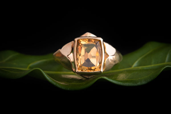 Rectangle Citrine Ring