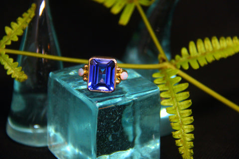Sapphire and Austrailian Opal ring in 14k SOLD