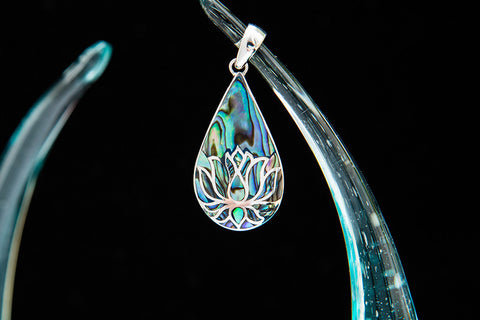 Paua Inlay Lotus Pendant