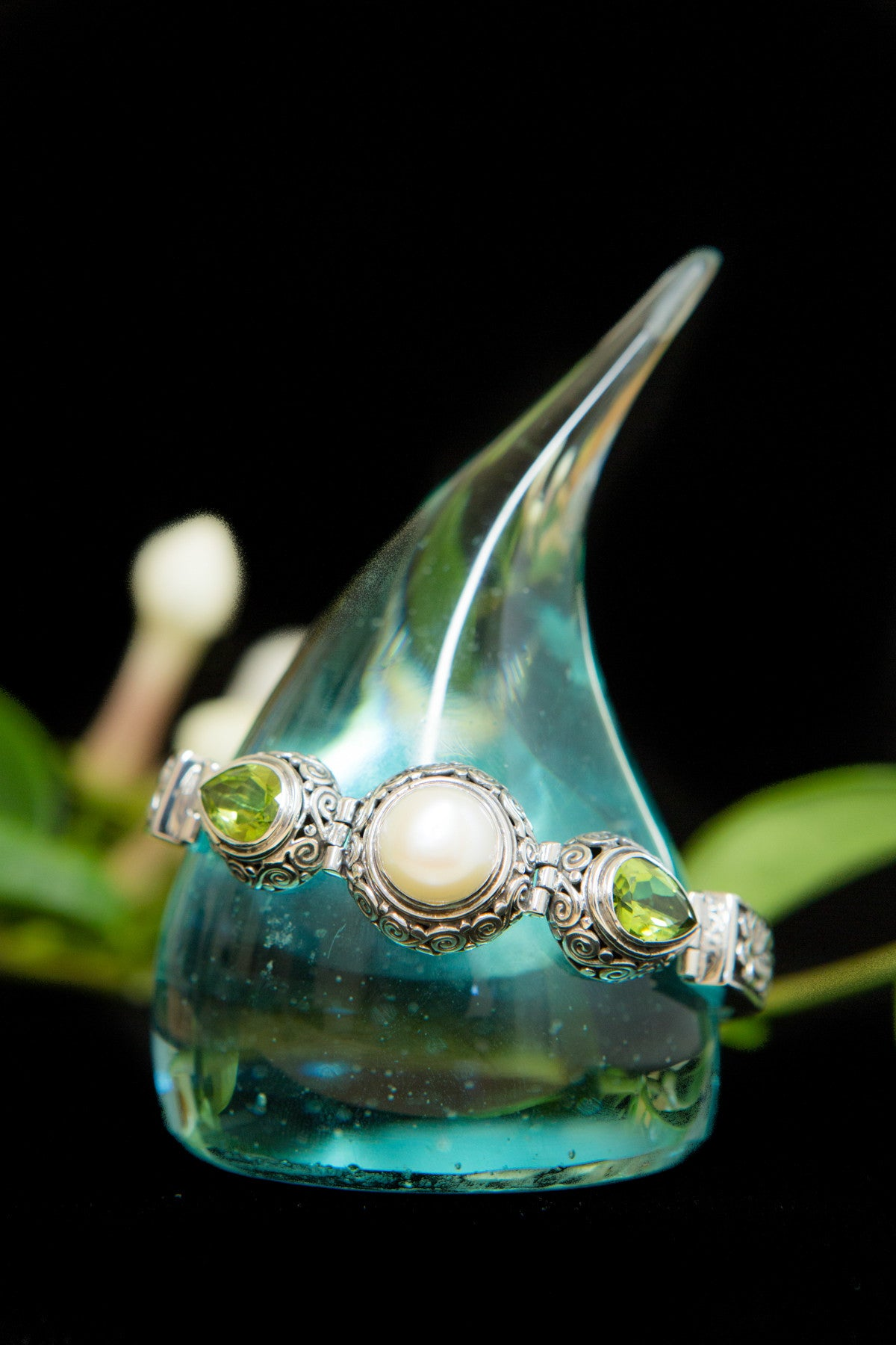 Plumeria with Pearl and Peridot