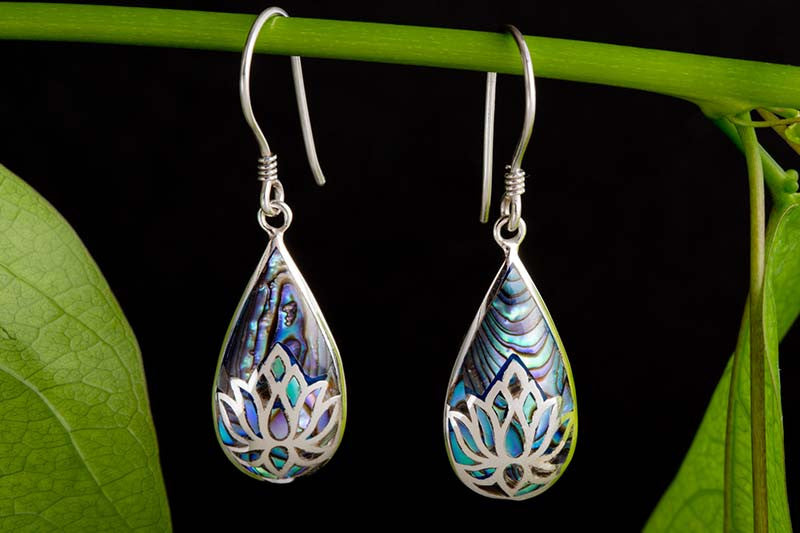 Lotus inlay Paua Shell Earrings