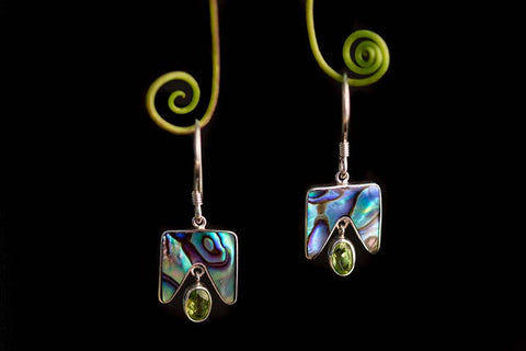 Paua Shell and Peridot Earrings