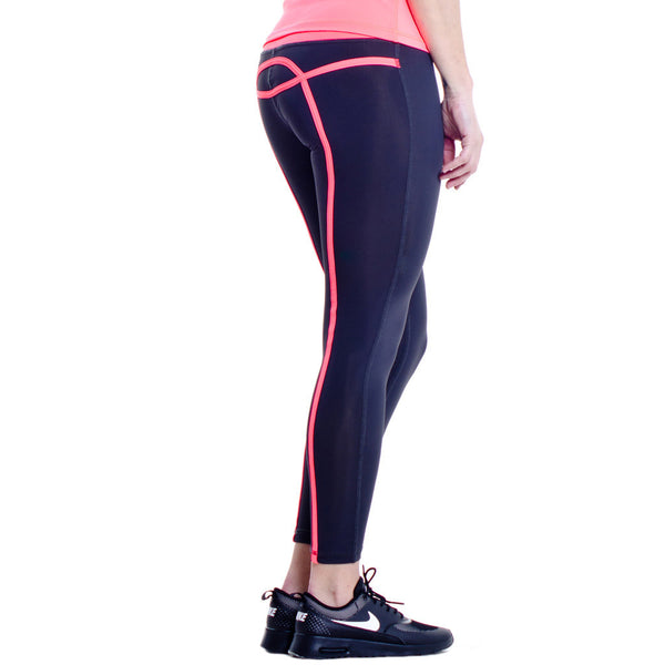 Drop of Mindfulness Bow Fitness Legging Dark Grey Coral Mallas Deportivas Mujer Gris Oscuro Líneas Coral