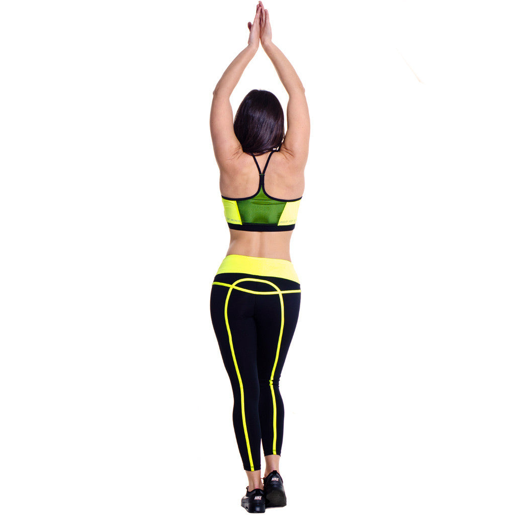Drop Of Mindfulness Freja Bra Yellow Sujetador de yoga Amarillo Neon