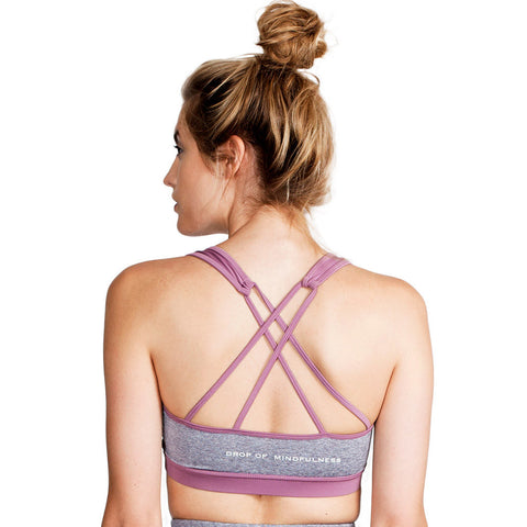 Drop of Mindfulness Angela Profit Bra Dusty Purple Grey Melange Sujetador Deportivo Gris Morado Con Relleno