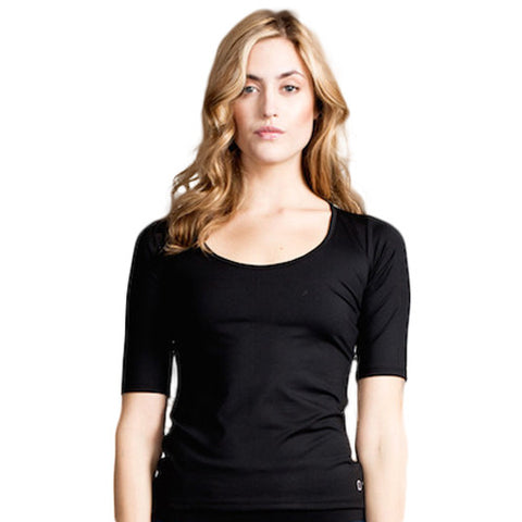Drop of Mindfulness Blanche Yoga Top Black Mesh Back Camiseta Transparencias Espalda Negro
