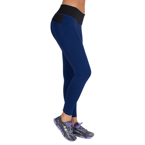 Drop of Mindfulness Bow II Fitness Legging Blue Black Mallas Deportivas Azul Pavo
