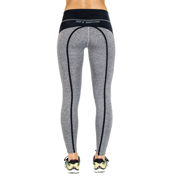 Drop of Mindfulness Bow II Fitness Legging Grey Black Mallas de fitness y Yoga Gris