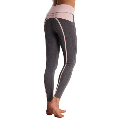 Drop of Mindfulness Bow II Fitness Legging Grey Melange Pink Mallas deportivas mujer gris rosa