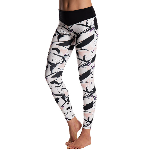 Drop of Mindfulness Bow II Fitness Legging Paint Print Black Lines Mallas Deportivas Mujer Estampado Pintura Blanco Negro Yoga