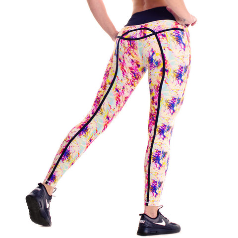 Drop of Mindfulness Bow Fitness Legging Splash Print Colorful Mallas Deportivas Estampadas Colores