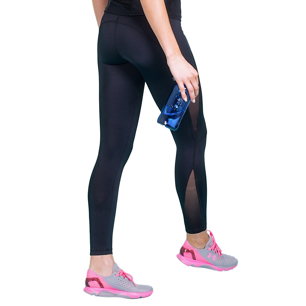 Drop of Mindfulness Hudson Leggings Mesh Inserts Side Black Mallas Deportivas Con Transparencias