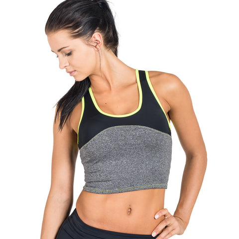 Drop of Mindfulness Husky Halter Profit Bra Grey Yellow Sujetador Deportivo Largo Crop Top Gris Amarillo Back