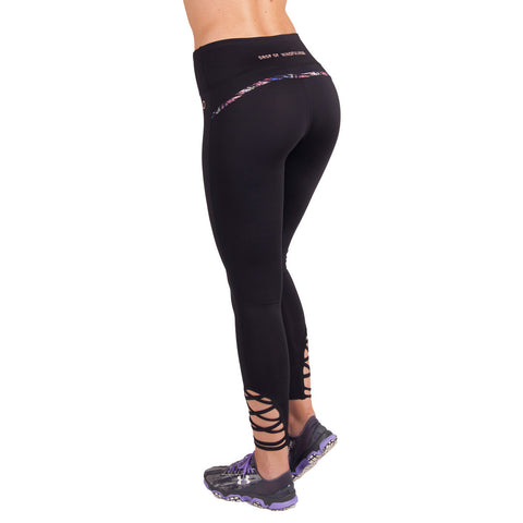 Drop of Mindfulness Lower East Fitness Legging Black Tropical Straps Mallas Negras