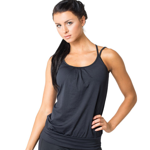 Drop of Mindfulness Martinique Built In Bra Top Camiseta Deportiva Sujetador Incorporado Negra Black