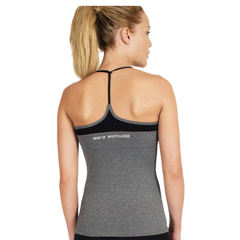 Drop of Mindfulness Park Built In Bra Top Grey Melange Mesh Camiseta Deportiva con Sujetador Incorporado Gris Transparencias