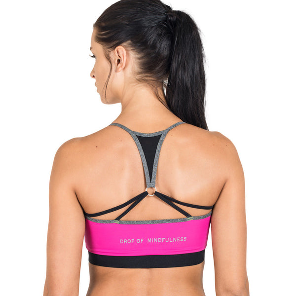 Drop of Mindfulness Peek N Peak Lightfit Bra Pink Grey Sujetador Deportivo Rosa Gris