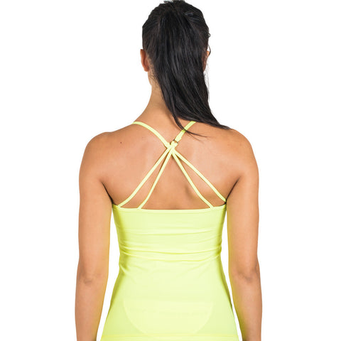 Drop of Mindfulness Spaghetti Dog Built In Bra Top Yellow Camiseta Deportiva Running Neon Sujetador Incorporado Amarillo