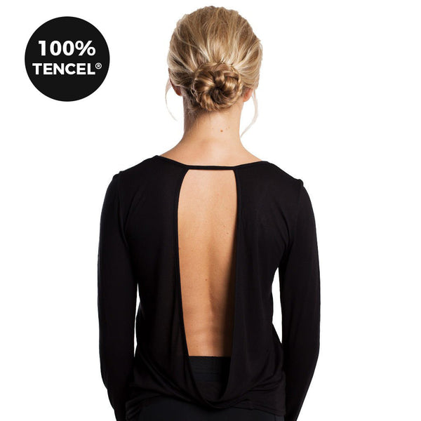 Drop of Mindfulness Water St Long Sleeve Top Open Back Black Camiseta Manga Larga Negra Espalda Abierta Tencel