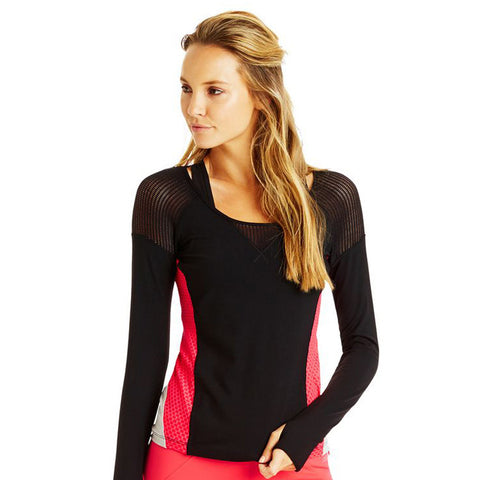 Lorna Jane Sporty Splice Long Sleeve Top Coral Black Camiseta Running Mujer Manga Larga Coral