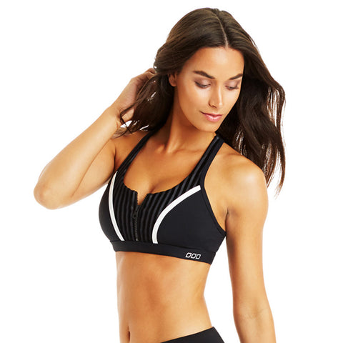 Lorna Jane Tigress Bra With Zipper Black White Stripe Sujetador Deportivo con cremallera negro blanco