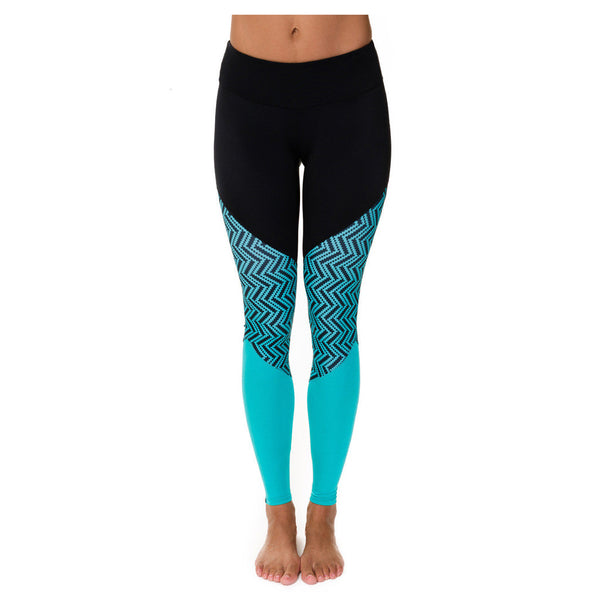 Onzie Track Leggings Mallas Mali Teal Chevron Yoga