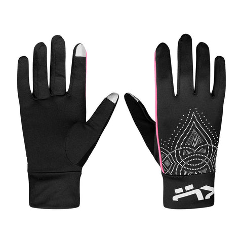 Röhnisch Cia Running Gloves Black Pink Reflective Print Guantes Running Mujer Negro Rosa Estampado Reflectivo Dedos Tactiles Movil