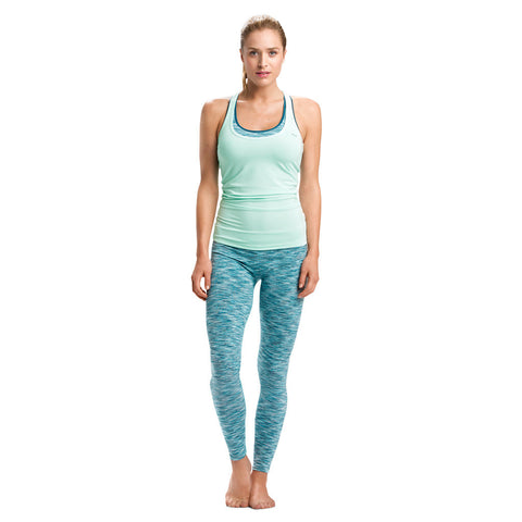 Röhnisch Lysa Seamless Tights Top Ice Mint Mallas Yoga Sujetador Deportivo Sin Costura Azul Rayas