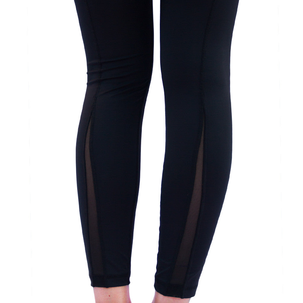 Röhnisch Nora Shape Tights Mesh High Waist Compression Black Mallas de compresion negro cintura alta transparencias