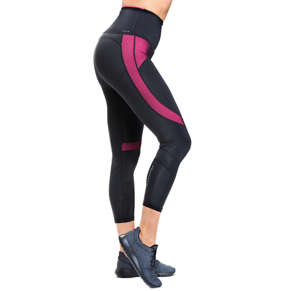 Röhnisch Shape Gilly 7/8 Tights Black Magenta Mallas de Compresión Mujer Negras High Waist Cintura Alta