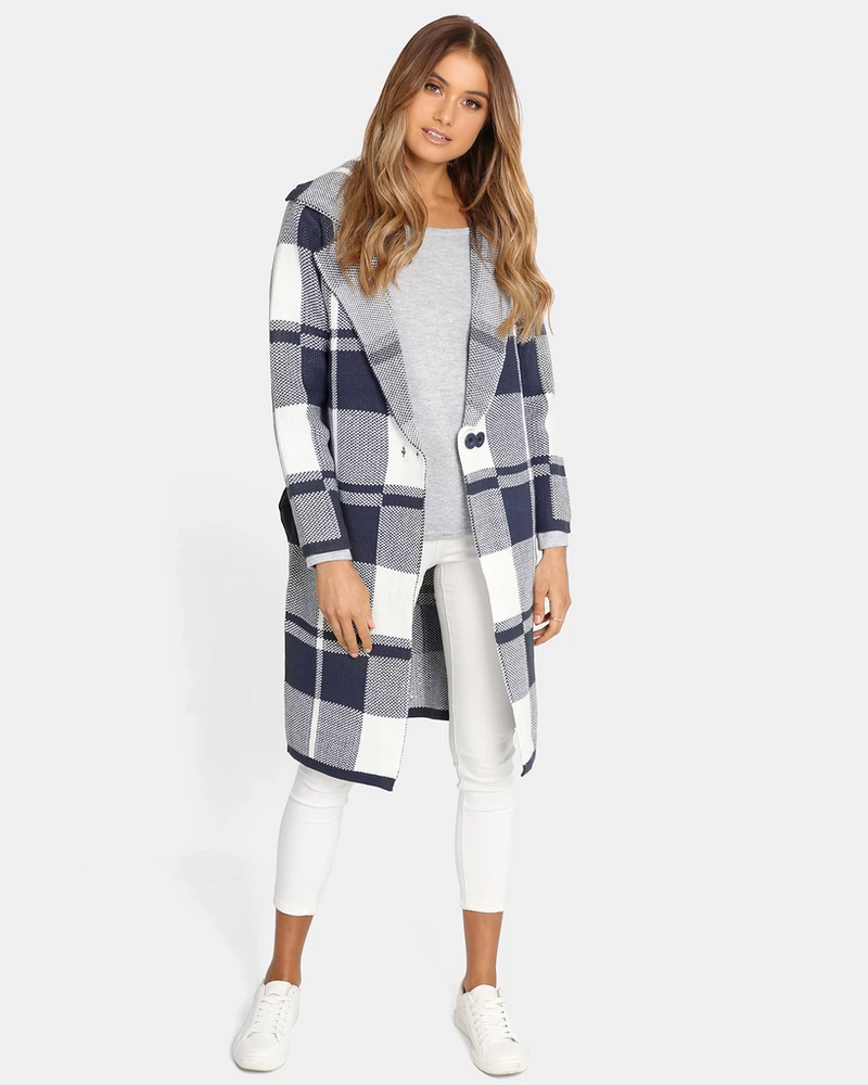 Brixton Coat / Navy & White