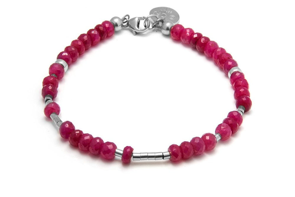 RUBY - All In Morsecode Bracelet - Kugelarmand - Rubin/ Silber - CLASSYANDFABULOUS JEWELRY