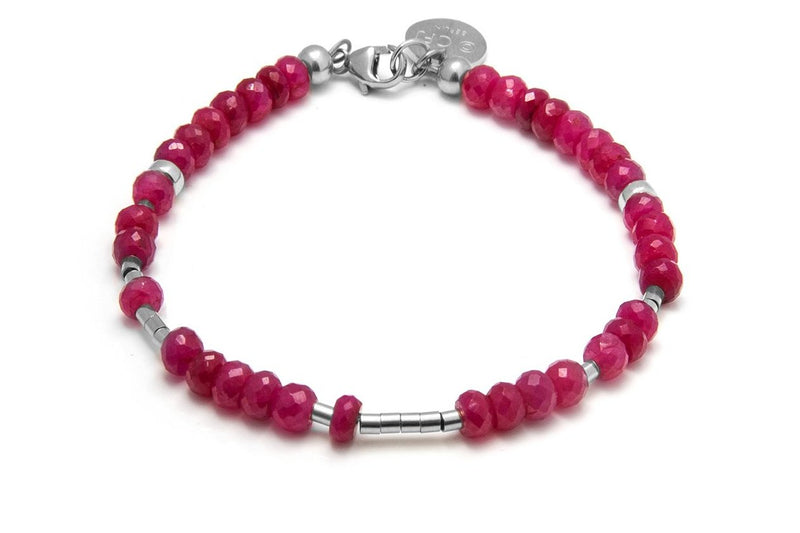 RUBY - All In Morsecode Bracelet - Kugelarmand - Rubin/ Silber