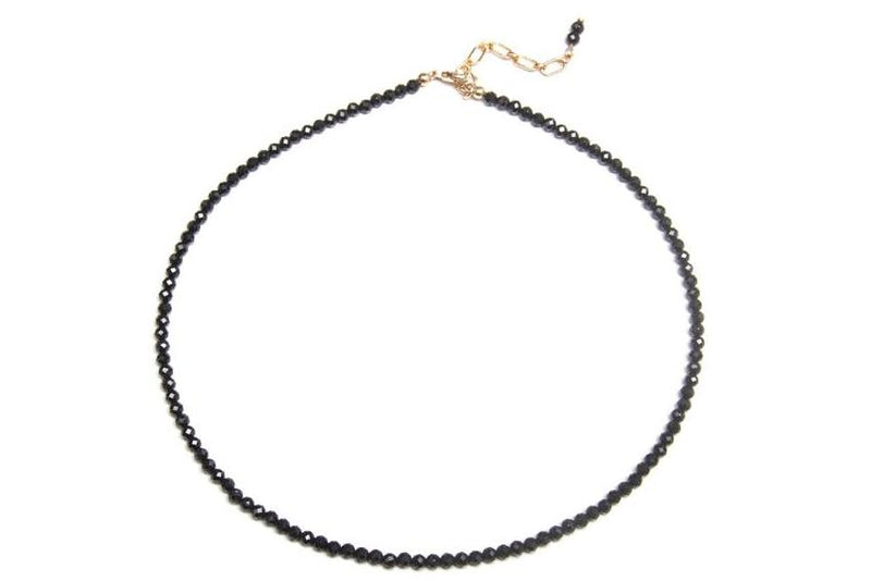 RAJA Black Choker Necklace - Edelstein Kugelkette 3mm -  Schwarz- Gold