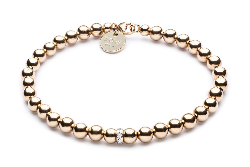 ZIVA MINI  - Kugelarmband mit Glitzerelement - 5mm -  Gold