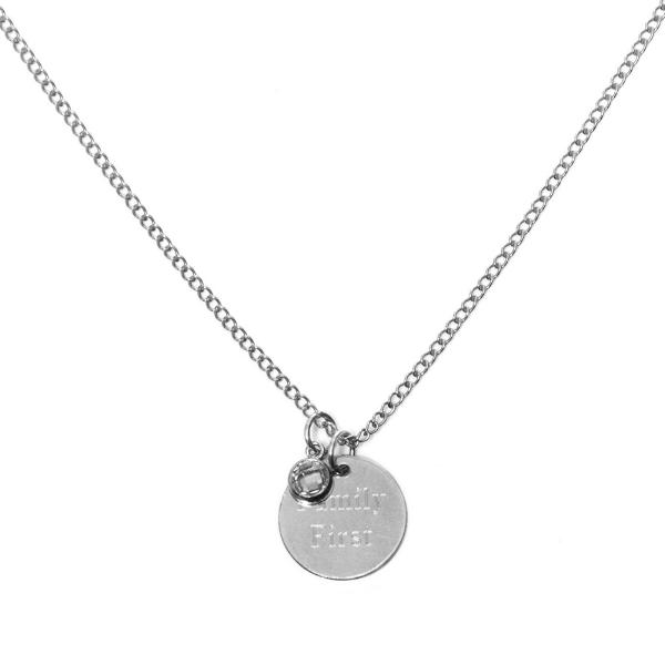 CARA Sparkle  - THE LOVE TAG NECKLACE - Kette mit gravierbarem Medaillon Anhänger und Zirkonia  -  Silber - CLASSYANDFABULOUS JEWELRY