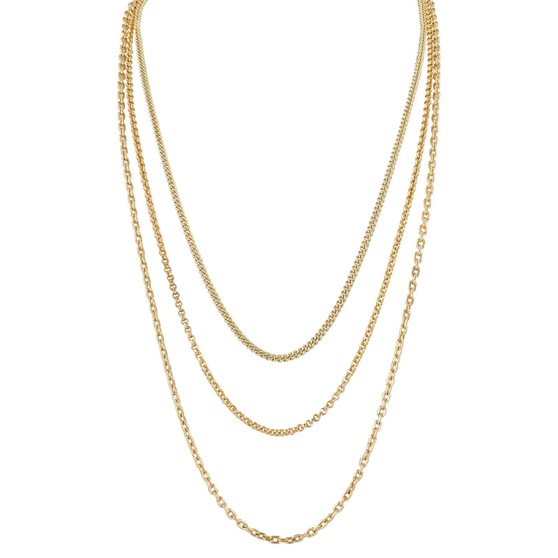 LAYA - The ReadyToWear Triple Necklace - Gold - CLASSYANDFABULOUS JEWELRY