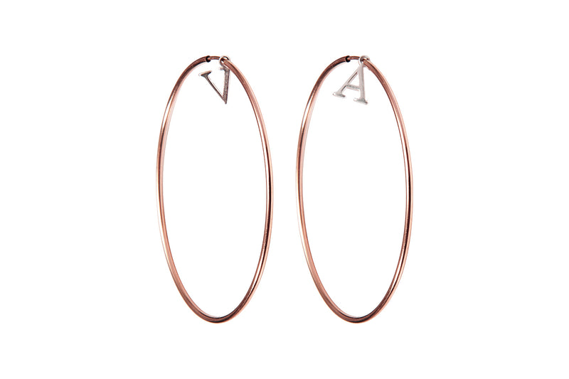 INITIAL HOOPS  - Creole mit Initialen -  Roségold/ Silber - CLASSYANDFABULOUS JEWELRY