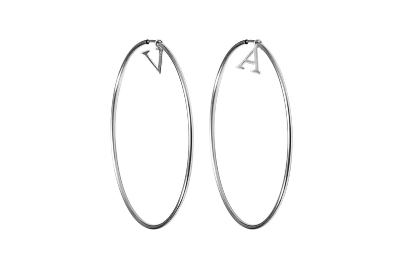 INITIAL HOOPS  - Creole mit Initialen - Silber - CLASSYANDFABULOUS JEWELRY
