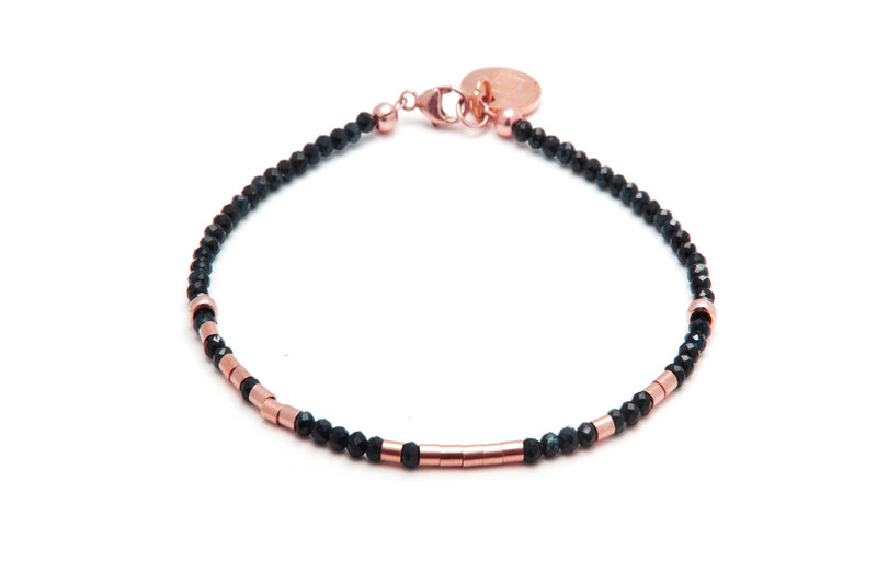 REMEMBER TO BREATH - SAPHIR Morsecode Kugelarmband 2mm -  versch. Edelsteine -Roségold - CLASSYANDFABULOUS JEWELRY