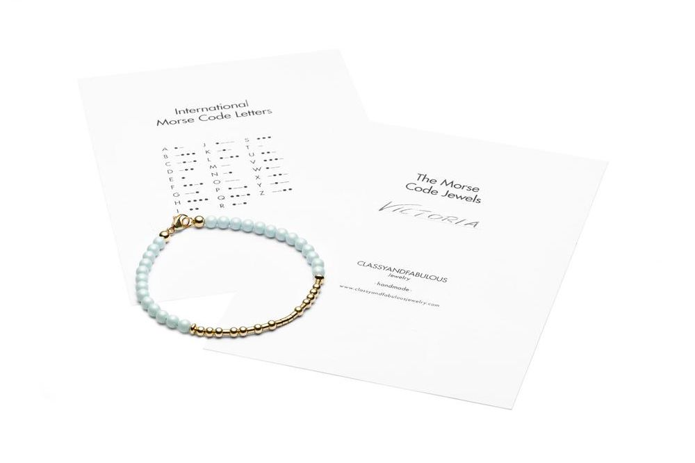 AQUAMARINA -  ALL IN Morsecode Bracelet - Kugelarmband - Gold - CLASSYANDFABULOUS JEWELRY