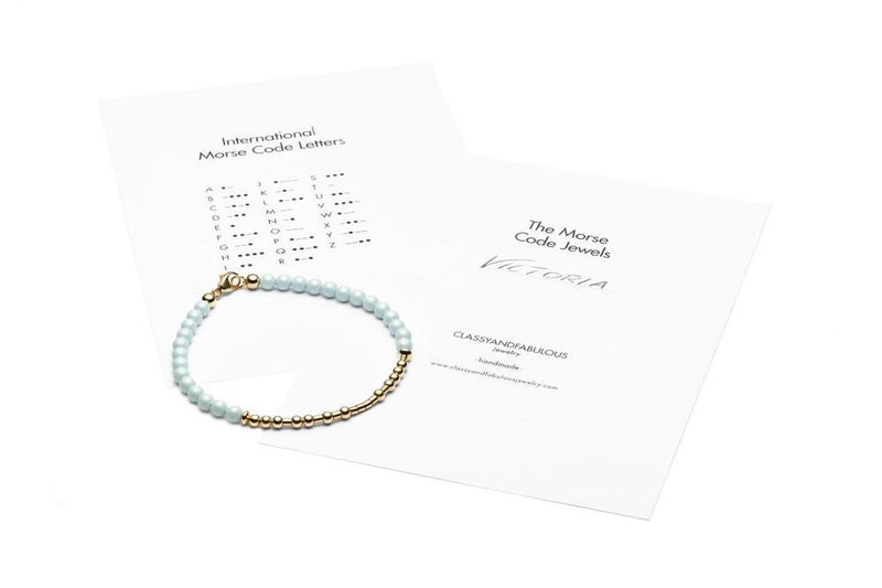 AQUAMARINA - All In Morsecode Bracelet - Kugelarmand - Silber - CLASSYANDFABULOUS JEWELRY