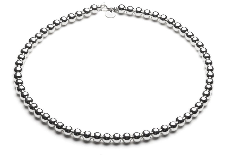 Beaded Necklace  - Kugelkette - 6mm -  Silber - CLASSYANDFABULOUS JEWELRY