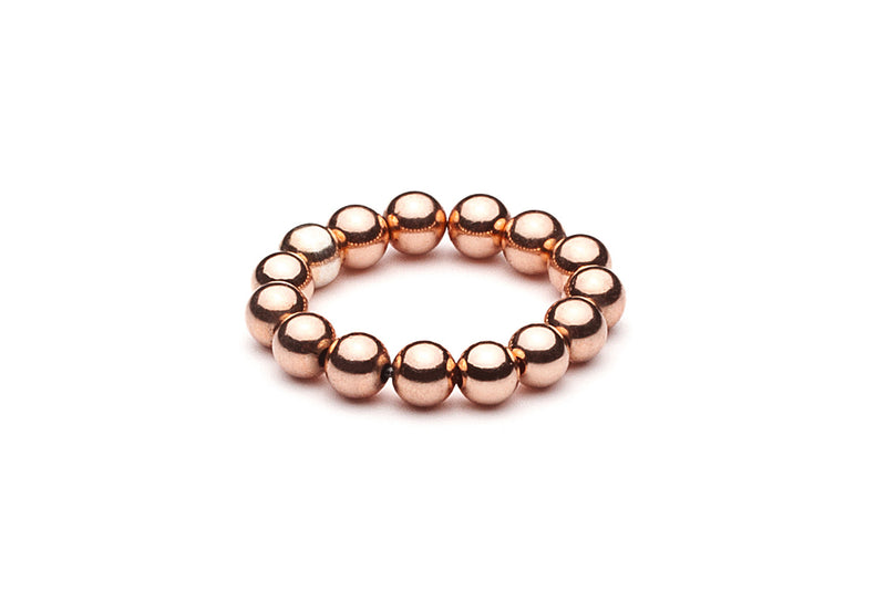 Beaded Ring  - Kugelring • elastisch • maxi -  Roségold - CLASSYANDFABULOUS JEWELRY