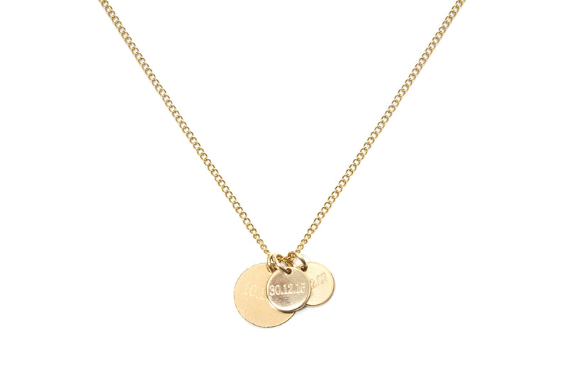 CLEO II  - THE LOVE TAG OR FAMILY NECKLACE - Kette mit 3 gravierbaren Medaillon Anhängern -  Gold - CLASSYANDFABULOUS JEWELRY