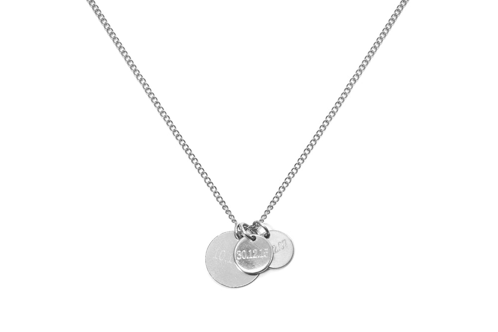 CARA III - THE FAMILY NECKLACE - Kette mit 3 gravierbaren Medaillon Anhängern -  Silber - CLASSYANDFABULOUS JEWELRY